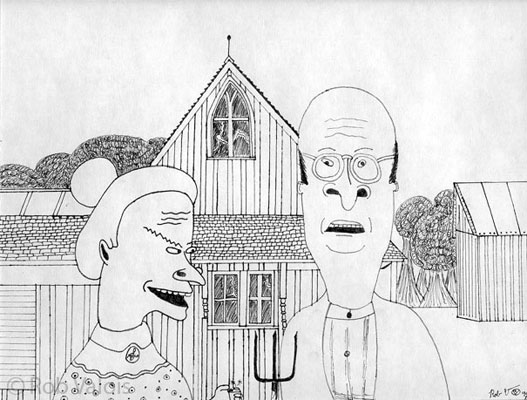 Beavis Butt Head Parody Of American Gothic Done In 8th Grade Advanced Art